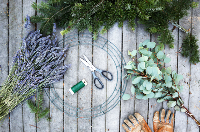 Easy Tutorial for a Holiday Wreath (with Lavender, Eucalyptus and Fir!)