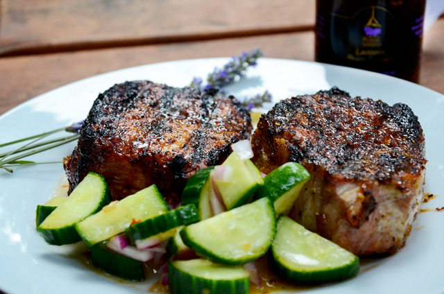 LEasy Grilled Lavender Peach Chutney Pork and Summer Cucumber Salad