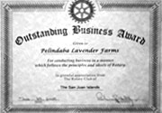 Outstanding Business Award Given to Pelindaba Lavender